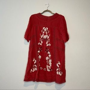 FREE PEOPLE Perfectly Victorian Red Mini Dress S